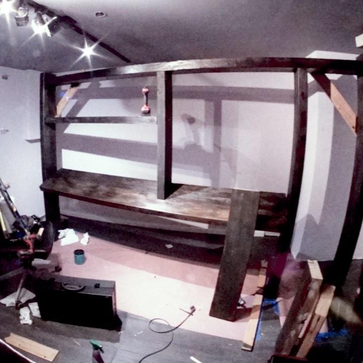 I built a new home for my synths out of wood beams reclaimed from a 1850s Brooklyn townhouse